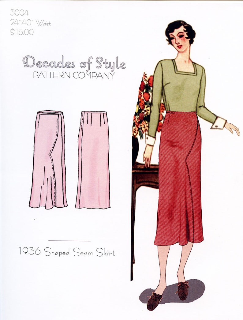 1930s Sewing Patterns- Dresses, Pants, Tops     Shaped Seam Skirt 1933  Decades of Style Vintage Style Sewing Pattern $15.00 AT vintagedancer.com
