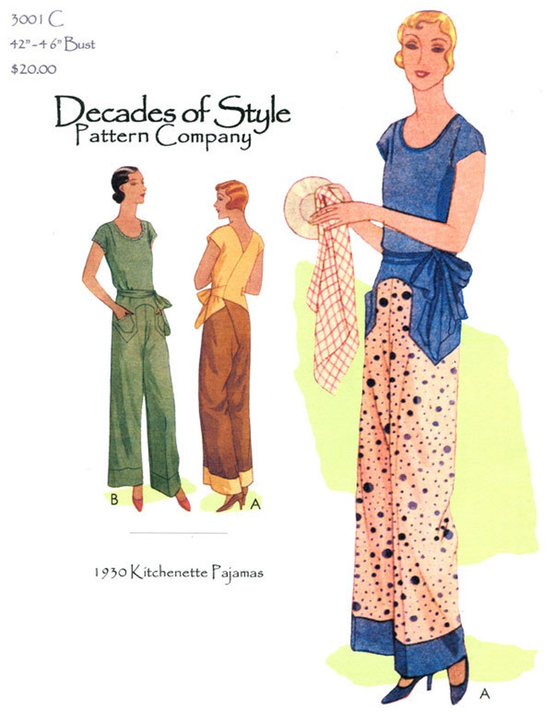 1930s Sewing Patterns- Dresses, Pants, Tops Kitchenette Pajamas 1930 Decades of Style Vintage Style Sewing Pattern $16.00 AT vintagedancer.com