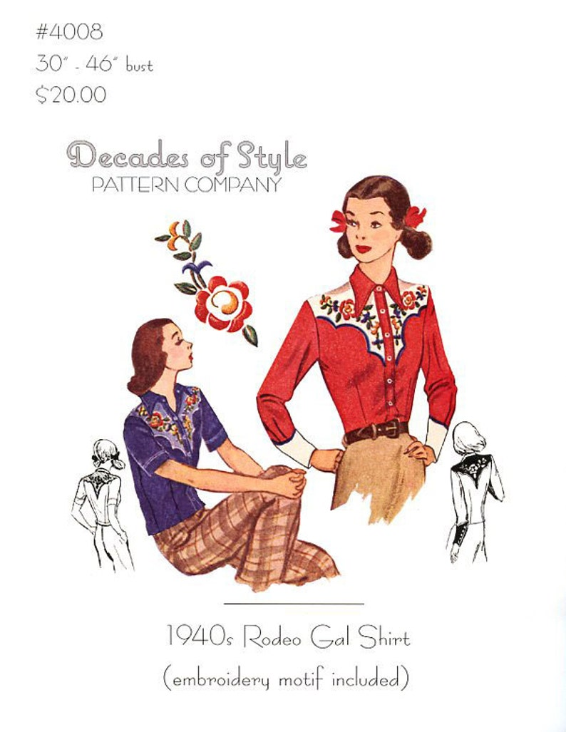 Vintage Western Wear Clothing, Outfit Ideas     Rodeo Gal Shirt 1940s  Decades of Style Vintage Style Sewing Pattern $25.00 AT vintagedancer.com