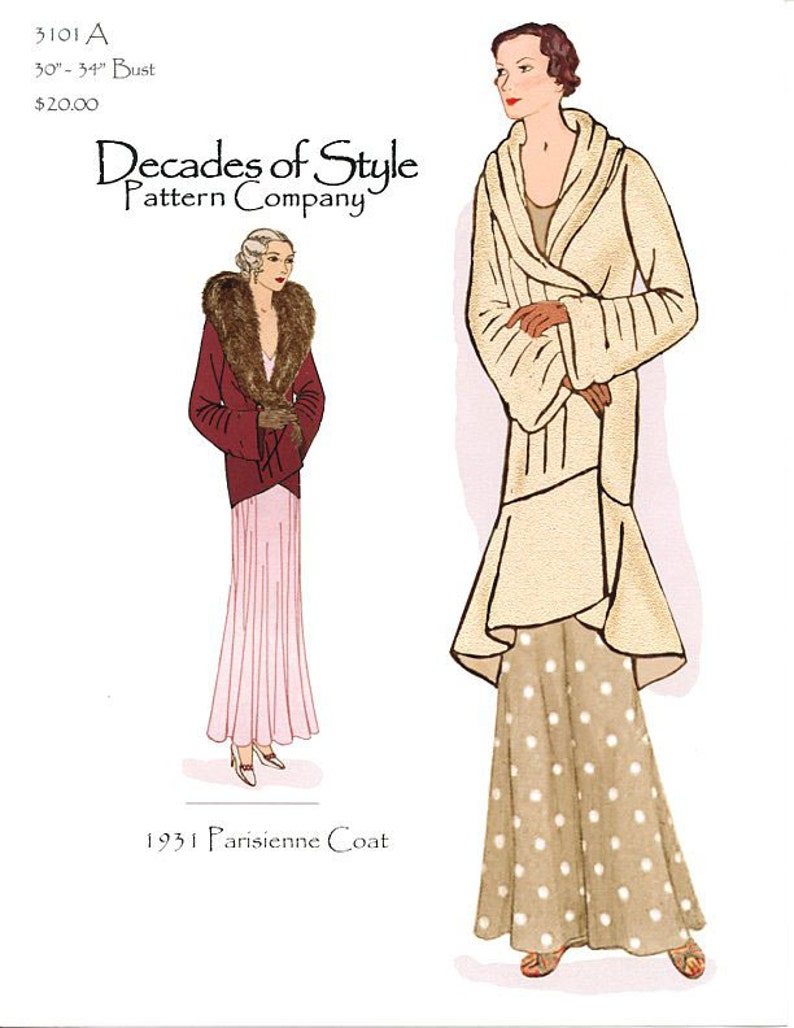1930s Sewing Patterns- Dresses, Pants, Tops     Parisienne Coat 1931  Decades of Style Vintage Style Sewing Pattern $20.00 AT vintagedancer.com
