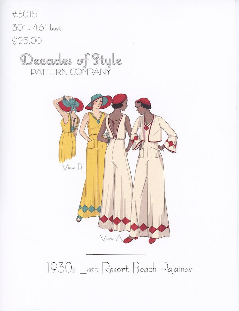 Vintage Wide Leg Pants & Beach Pajamas History     Last Resort 1930s Decades of Style Vintage Style Sewing Pattern $25.00 AT vintagedancer.com