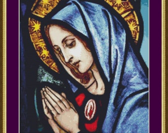 Stained Glass Mary in Prayer - Counted Cross Stitch Pattern