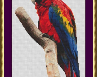 Scarlet Macaw - Counted Cross Stitch Pattern