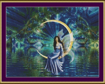 Fairy on Moon - Counted Cross Stitch Pattern