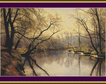 Tranquil River Landscape - Counted Cross Stitch Pattern