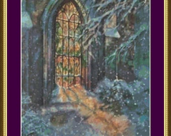 Stained Glass Window in Church - Counted Cross Stitch Pattern