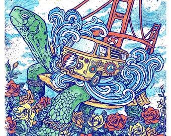 Dead & Company Shoreline Poster Dead And Co Grateful Dead Gigposter Terrapin Turtle Golden Gate Bridge Hippie Van Summer GIGART Print