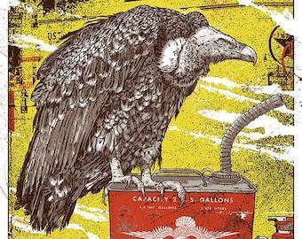 The Black Keys Cleveland Ohio Gigposter Poster Print Let's Rock Tour Vulture Gasoline Tank Print by GIGART Dan Auerbach Patrick Carney Akron
