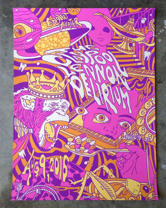 The Claypool Lennon Delirium PURPLE VARIANT Psychedelic Primus Main Gigposter Poster by GIGART