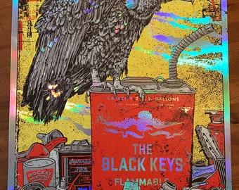 Foil Variant The Black Keys Cleveland Ohio Gigposter Poster Print Let's Rock Tour Vulture Gasoline Print GIGART Dan Auerbach Patrick Carney