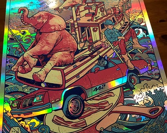 Primus Columbus Ohio OH 2019 Rainbow Foil Fishing Boat 442 Frypan Bacon Beaver Cheese Les Claypool Psychedelic Gigposter Poster by GIGART