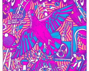 Pigeons Playing Ping Pong Funk Band Psychedelic Jam Pigeon Main 2020 Gigposter Poster by GIGART