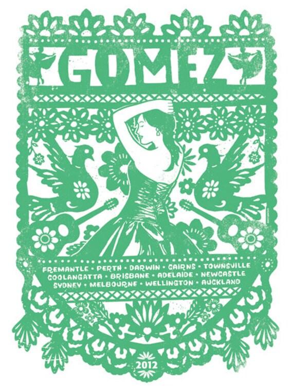 Gomez banda australiana Tour 2012 Papel Picado Banner