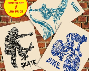 Fathers Day Gift Bike Surf Skate Anatomy 3 Pack Sale Extreme Sport Series Silk Screen Art Print Poster - Etsy
