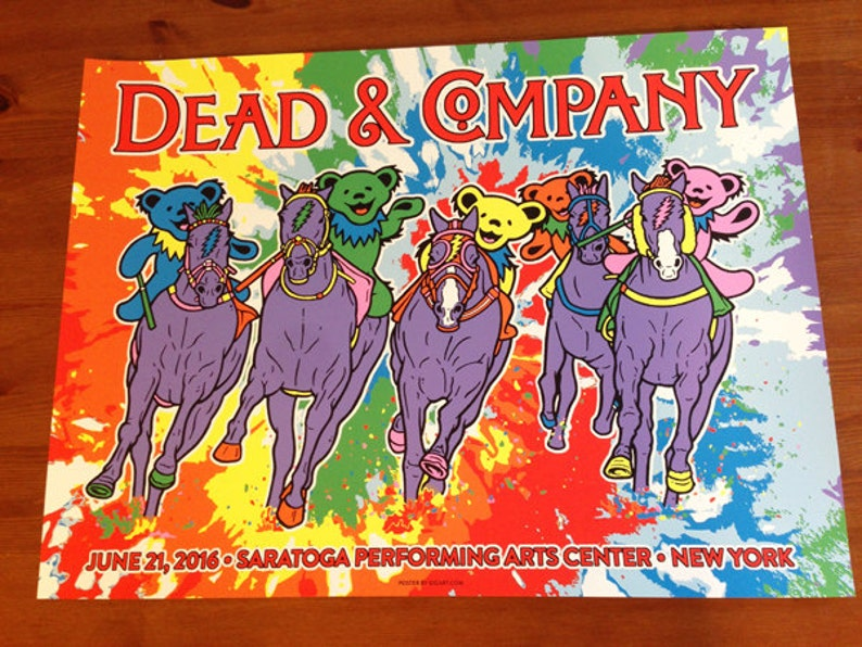 Dead & Company Saratoga Springs Poster Dead And Co Grateful Dead Gigposter  Dancing Bears Horses GIGART Print