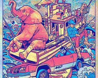 Primus Columbus Ohio OH 2019 Sparkle Foil Fishing Boat 442 Frypan Bacon Beaver Cheese Les Claypool Psychedelic Gigposter Poster by GIGART