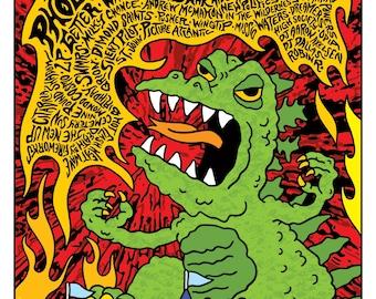 BFD Rock Concert Godzilla Flyer Poster by GIGART Franz Ferdinand Phoenix SWMRS Andrew McMahon Taking Back Sunday Cold War Kids Gigposter Rad