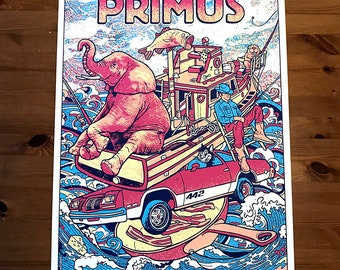 Primus Columbus Ohio OH 2019 Main Pachyderm Fishing Boat 442 Frypan Bacon Beaver Cheese Les Claypool Psychedelic Gigposter Poster by GIGART