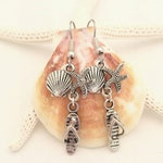 Sea life jewelry, silver flip flops and seashell earrings, Beachy earrings