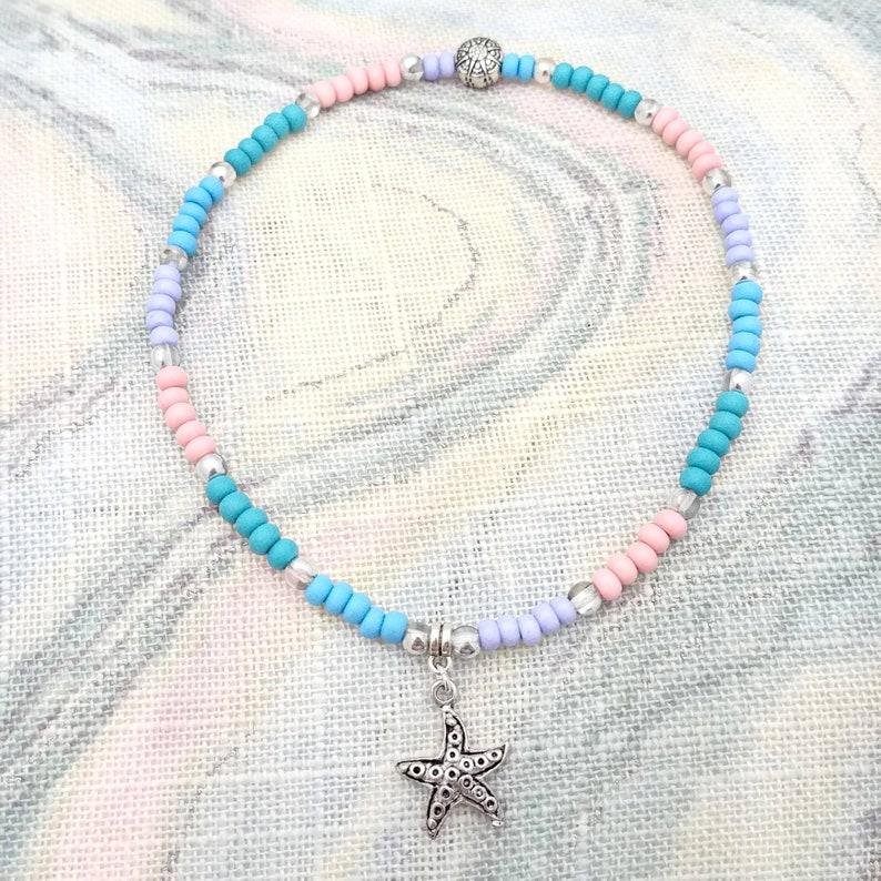 beaded stretchy anklet ankle bracelet beachy anklets for women Starfish anklet magnetic anklet pastels aqua blue green pink