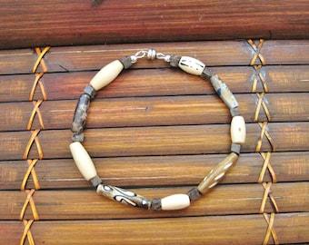 Mens Bracelet, Bone Horn, Mens Jewelry, Mens Beaded Bracelets, Tigers Eye, Gemstone, Handmade, Brown, Rugged, Men Accessories, Mens Fashion