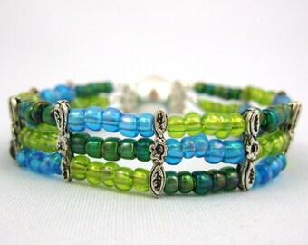 Multi Strand Bracelet, Multistrand Bracelet, Spring Bracelet, Magnetic Bracelet, Bead Bracelet Women, Gift for Her, Beaded Bracelet, Mom