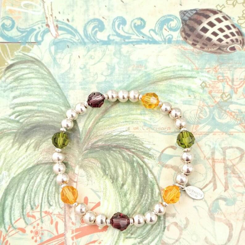 60c4b9fcfd07 Sterling Silver and Swarovski crystal stretchy bead bracelet