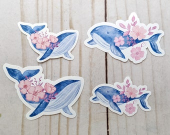 "Watercolor Whales Sticker, Laptop Sticker, Laptop Decal, Waterproof Sticker, Vinyl Sticker, 3""x1.75"""