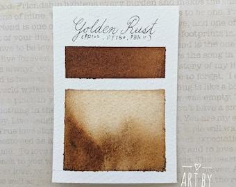 """Granulating Watercolor, Handmade Watercolor Paint, Natural Watercolor Paint, """"Golden Rust"""", Half Pan, Earth Pigments Watercolor"""