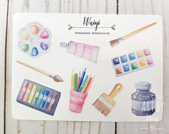 """Watercolour Art Supplies Vinyl Sticker Sheet, Sticker Set, Laptop Sticker, Waterproof Sticker, Planner Stickers Sheet 4.5"""" x 6.5"""""""
