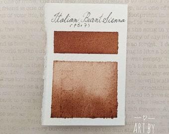 """Granulating Watercolor, Natural Watercolor Paints, Handmade Watercolor Paints, Earth Pigment """"Italian Burnt Sienna"""" Half Pan, Dot Card"""