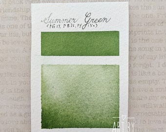 "Handmade Watercolor Paint, Non Toxic Watercolor Paint, Artist Grade Watercolor, Custom Mixed Color ""Summer Green"" Half Pan"