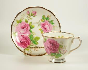 Royal Albert American Beauty Bone China Teacup Tea Cup Saucer Set Pink Rose Roses
