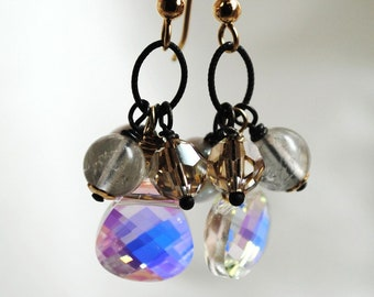Cluster Earrings, Grey Tourmaline Cluster Swarovski Briolette Earrings, Rainbow, Gold Earrings, Grey Freshwater Pearls, Vintage Inspired