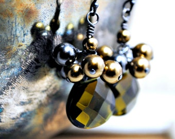 Cluster Earrings, Green Smoky Quartz Pearl Earrings, Dangle, Military Inspired Colors, Swarovski Cluster Pearl Earrings, Statement Earrings