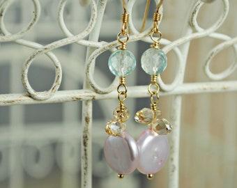 Gold Earrings, Dangle Earrings, Aqua Quartz, Mauve Freshwater Coin Pearls, Golden Shadow Crystal Teardrops, Long Earrings, Pink, Gold, Blue