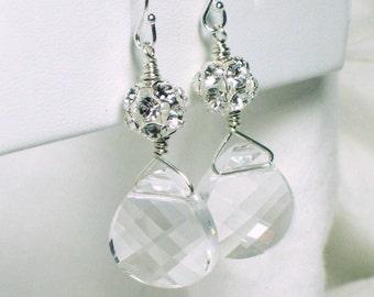 Bridal Earrings, Swarovski Crystal Earrings, Wedding Jewelry, Dangle Earrings, Fireball, Briolette Crystal Earrings, Sterling Silver