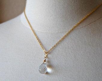 Crystal Pendant Necklace, Ice Crystal Pendant Gold Necklace, Minimalist Jewelry, Swarovski Disco Crystal, Bridal Necklace, Wedding Jewelry