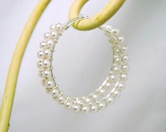 Hoop Earrings White Swarovski Pearls, Sterling Silver, Hand Wire Wrapped, Bridal Earrings, Wedding Hoop Earrings, Audrey EF0913WHSS