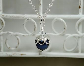 Swarovski Pearl Pendant Necklace, Filigree Bead Cap, Victorian Style, Bridesmaids Necklace, Bridal Party, Wedding Necklace, Bridal Necklace