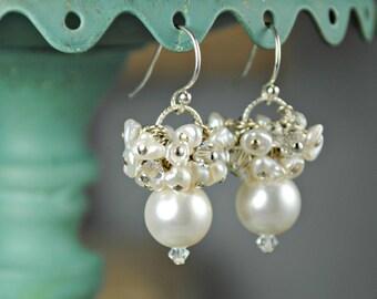 White Wedding Earrings, Bridal Earrings, Pearl and Crystal Cluster Earrings, Beach Wedding, Vacation Earrings, Freshwater Pearls