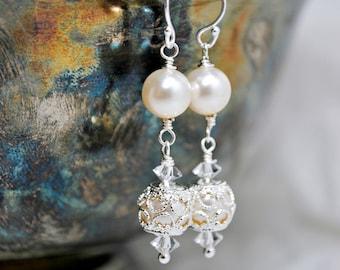 Filigree Wedding Earrings, Dangle Bridal Earrings, Victorian Inspired Wedding Earrings, Drop Bridesmaids Earrings, Swarovski Ivory Pearls