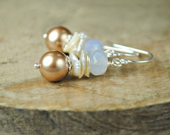 Dangle Earrings, Petite Drop, Blue Chalcedony Gemstone, Swarovski Brown Pearls, Keishi Pearls, Sterling Silver Drop Earrings, Beach Vacation