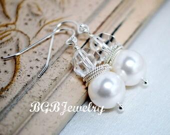 White Pearl Bridal Earrings, Drop Earrings, Crystal Earrings, Wedding Earrings, Bridesmaids Gifts, Bridal Jewelry, Wedding Jewelry,