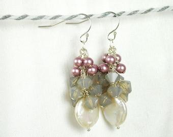 Pearl Cluster Earrings, White Coin Pearl Earrings, Powder Pink Swarovski Pearls, Grey Opal Crystals, Long, Dangle, Bridesmaids Earrings