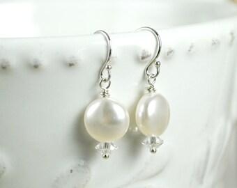 Pearl Bridal Earrings, White Swarovski Coin Pearl Earrings, Wedding Earrings, Bridal Drop Pearl Earrings, Pearl and Crystal Earrings, Simple