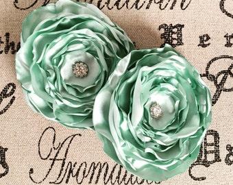 Light Mint Green Hair Flower, Clip, Headband, Bridesmaids, Birthday, School Photos, Dance, Hair Accessories, Little Girl, Spring, Layered