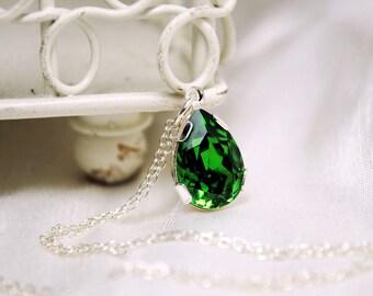 Tear Drop Bridal Pendant Necklace, Fern Swarovski Pendant Necklace, Rhinestone Pendant, Bridesmaids, Valentines Day Necklace