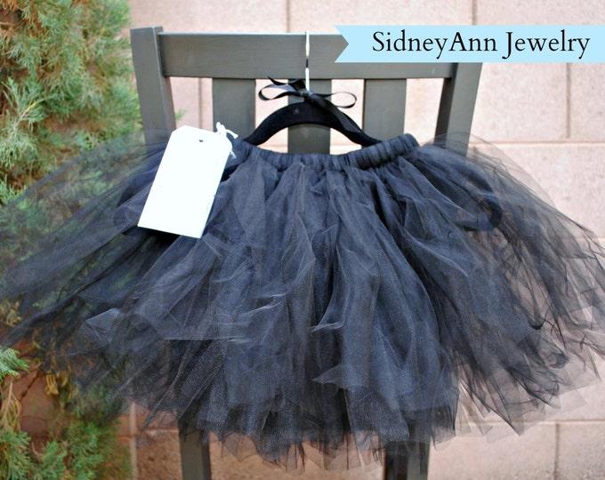 Black Tutu Skirt, Black Tulle Skirt, Little Girl Skirt, 1st Birthday Skirt, Flower Girl Tutu Skirt, Light and Fluffy Tutu Skirt, Halloween