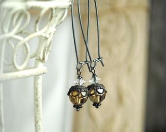 Crystal Earrings, Dangle Earrings, Swarovski Crystals, Smoky Crystal Earrings, Crystal Jewelry, Sterling Silver, Brown, Filigree Earrings